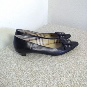Burberry Black Leather Buckle Shoes